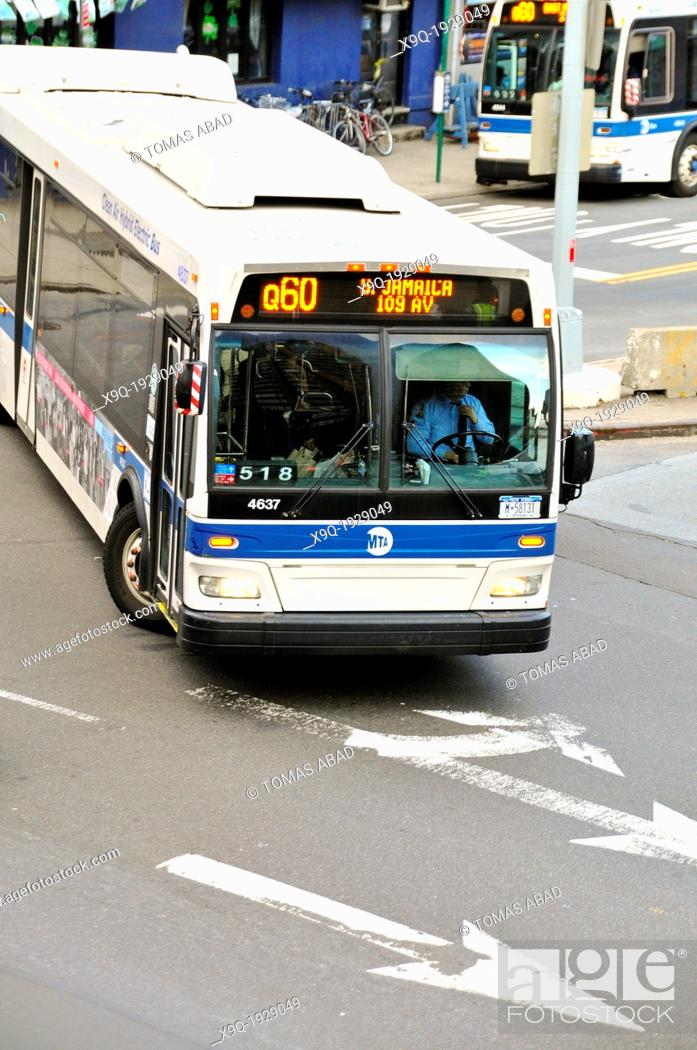 Mta Q60 Public Transportation Bus Entering Queensboro 59th Street