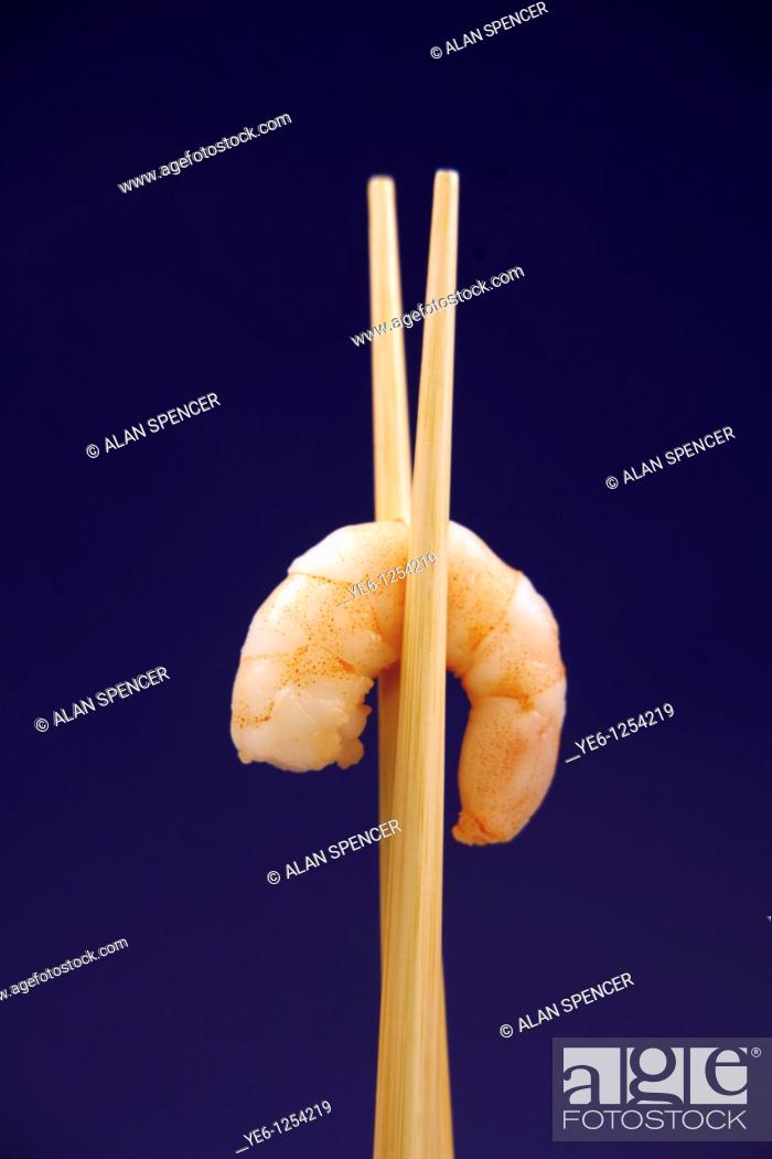 Stock Photo: Cooked Prawn and Chop Sticks.