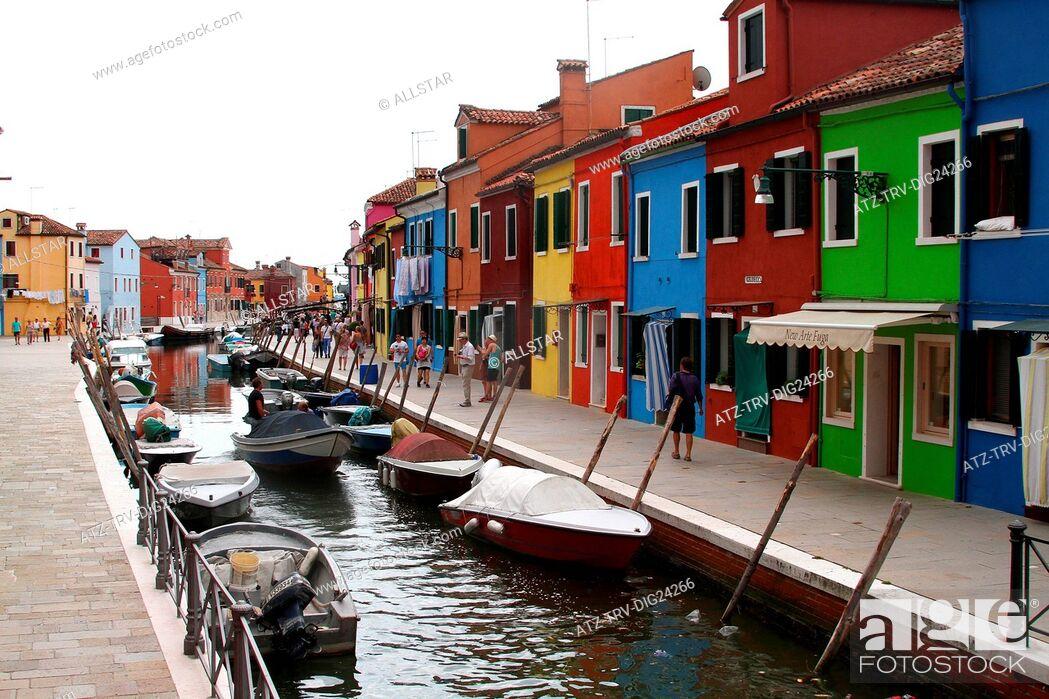 Stock Photo: COLOURED HOUSES & CANAL; BURANO, VENICE, ITALY; 03/08/2014.