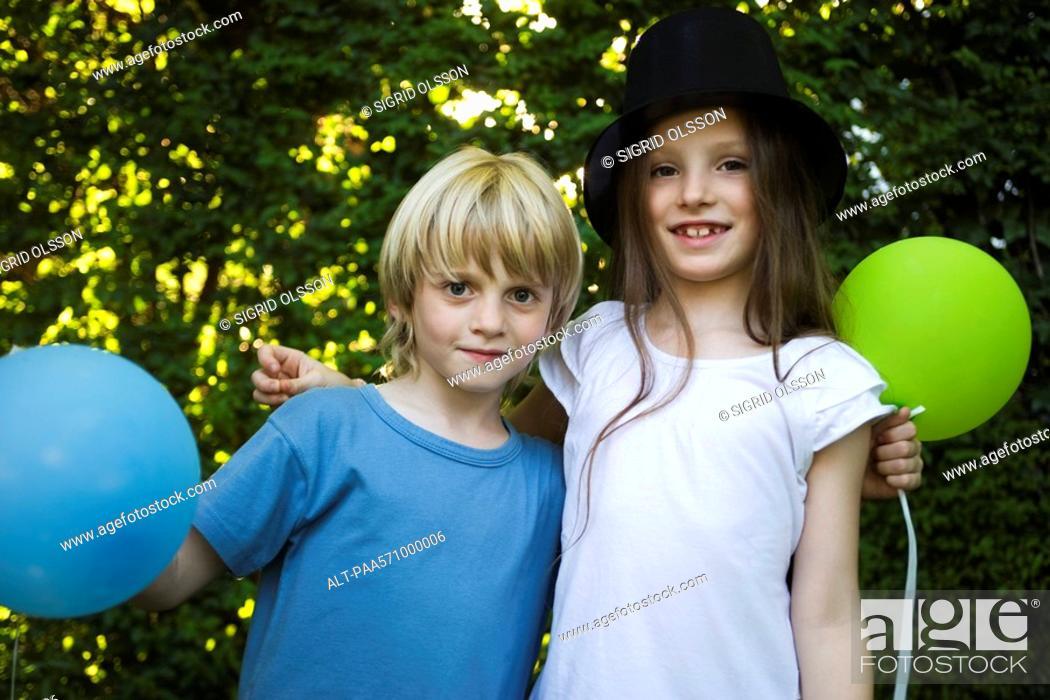 Stock Photo: Childhood friends, portrait.