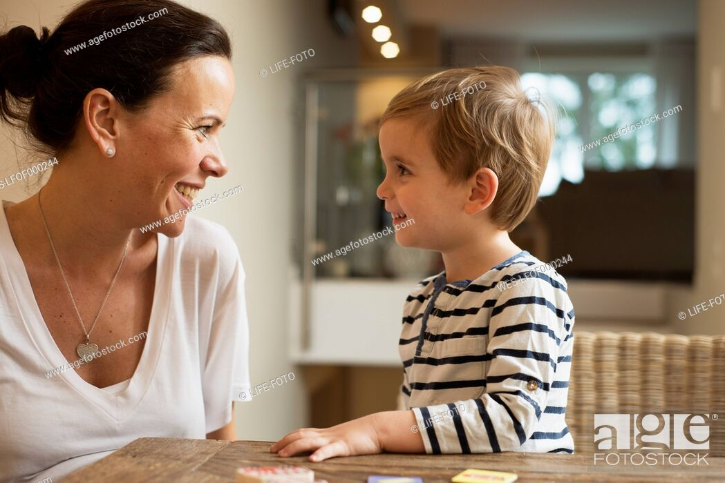 Stock Photo: Mother and son at home.