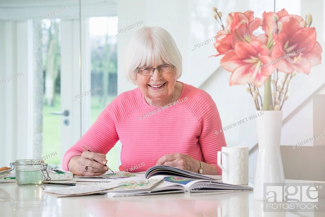 Stock Photo: art therapy / creative hobbies for seniors.