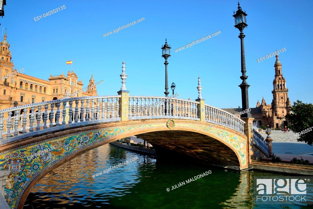 Stock Photo: Plaza de España in Seville and its canals.