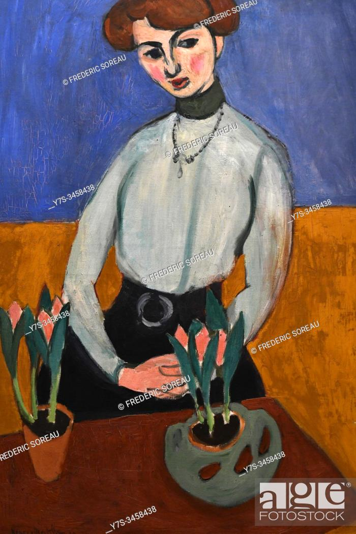 Stock Photo: Girl with tulips, by Henri Matisse, State Hermitage museum, St Petersburg Russia, Europe.