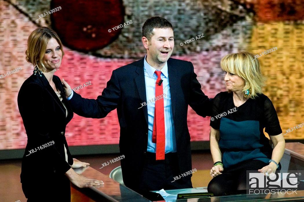Imagen: 22 01 2012  Telecast 'Che tempo che fa' RAI 3, Milan  Filippa Lagerback, Fabio Fazio and Luciana Littizzetto.