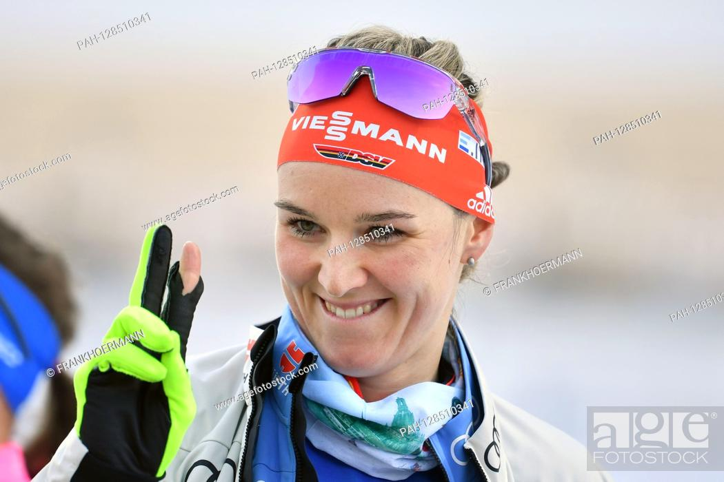 Stock Photo: Denise HERRMANN (GER), action, single image, cut single motif, portrait, portrait, portrait. 7.5km sprint of women, women on January 15th, 2020 .