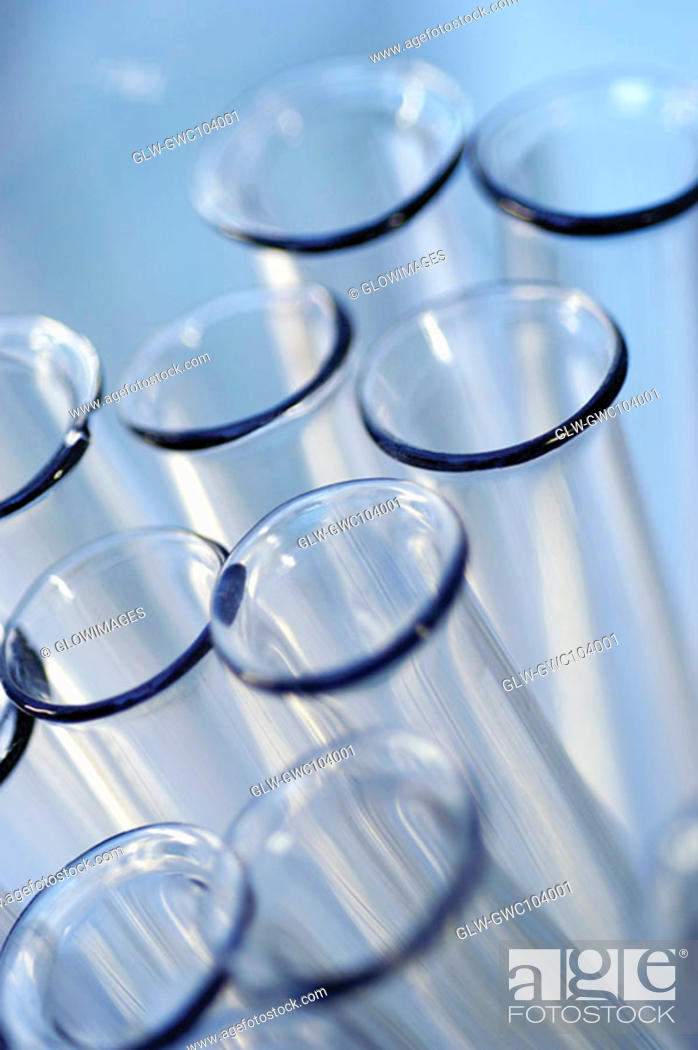 Stock Photo: High angle view of an array of beakers.