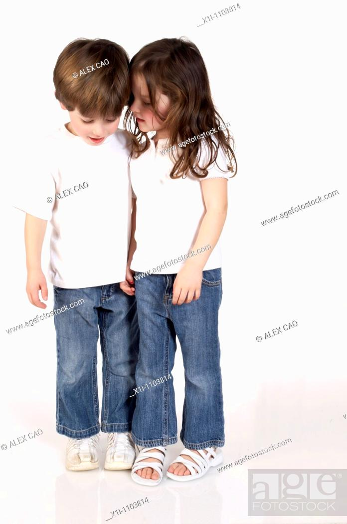 Stock Photo: Boy and girl, together.