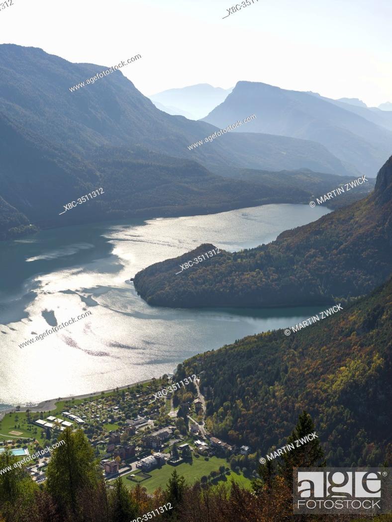 Stock Photo: Molveno at lake Lago di Molveno in the Dolomiti di Brenta, part of UNESCO world heritage Dolomites. Europe, Italy, Trentino.
