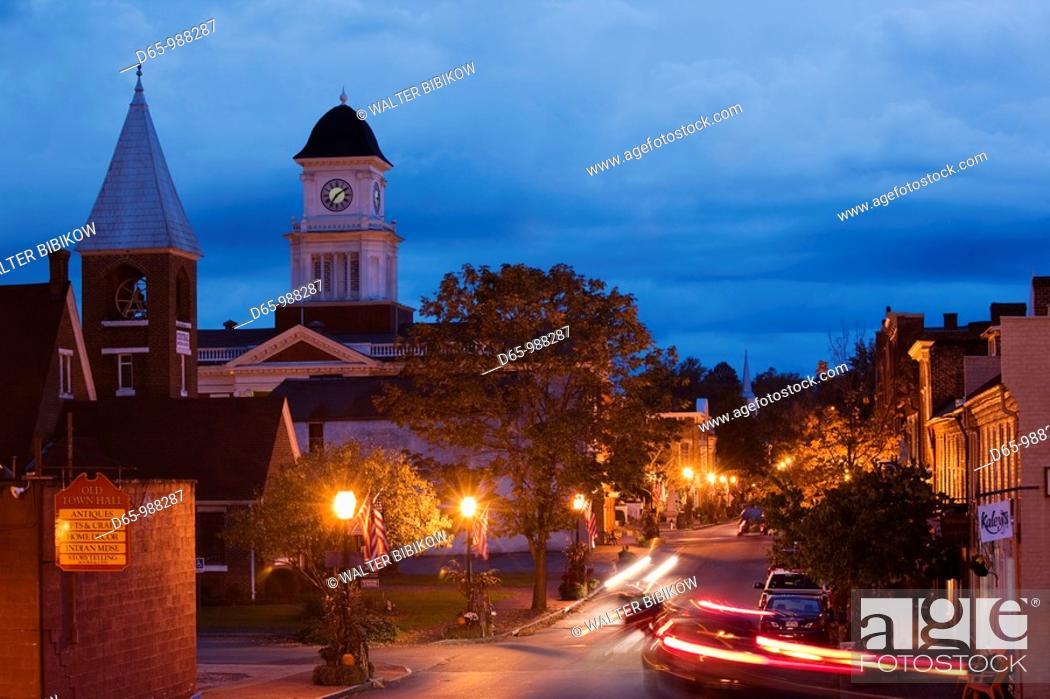 Stock Photo: USA, Tennessee, Jonesborough, Oldest town in Tennessee, Main Street, Washington County Courthouse, dusk.