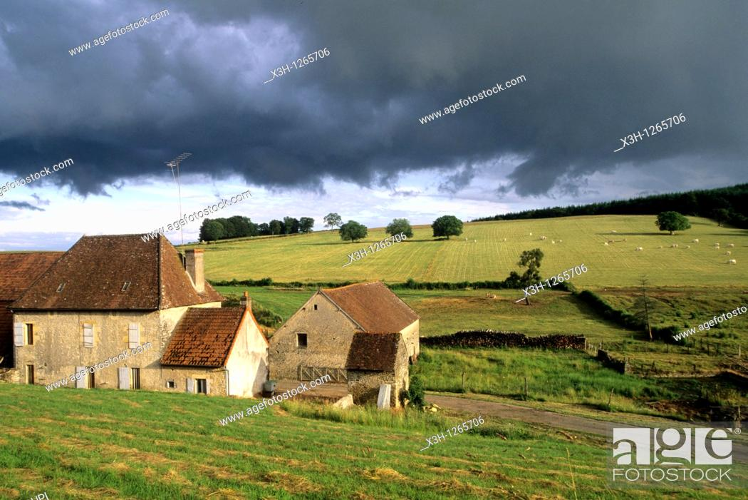 Stock Photo: farmhouse under stormy sky, around Nevers, Nievre department, region of Burgundy, center of France, Europe.