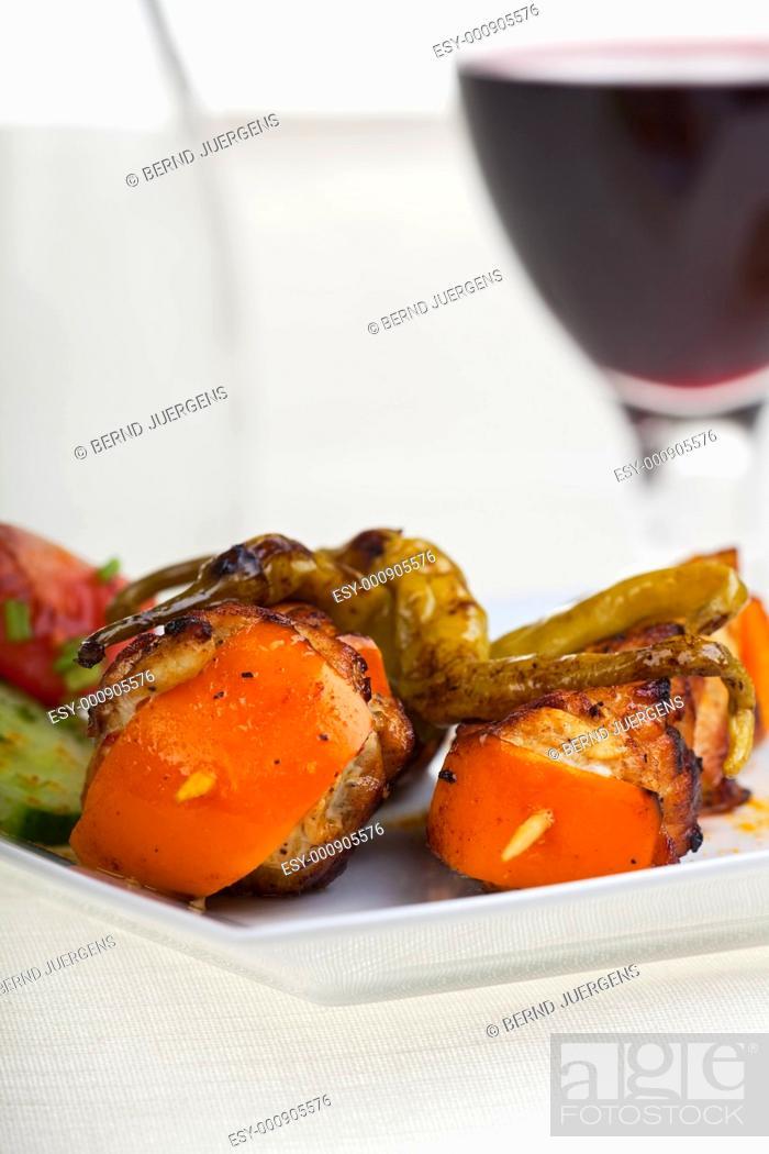 Stock Photo: chicken shashlik.