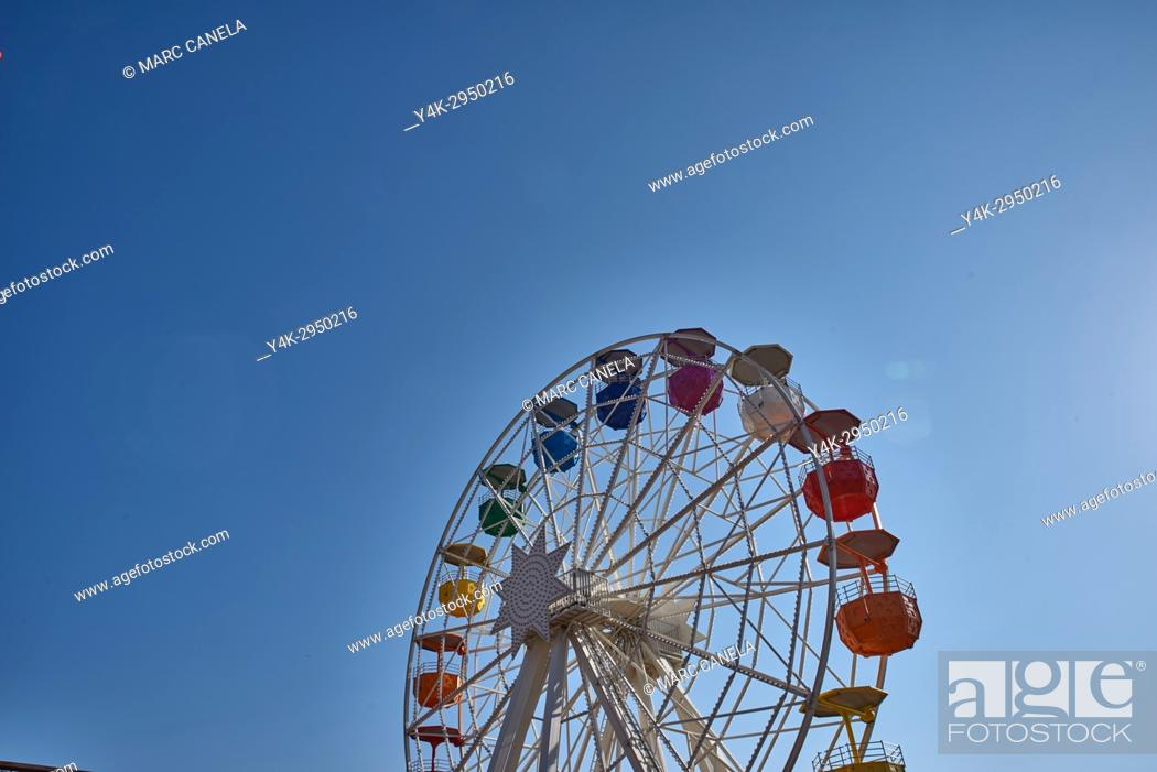 Stock Photo: Spain, Barcelona, Tibidabo Amusement Park, Ferris Wheel.