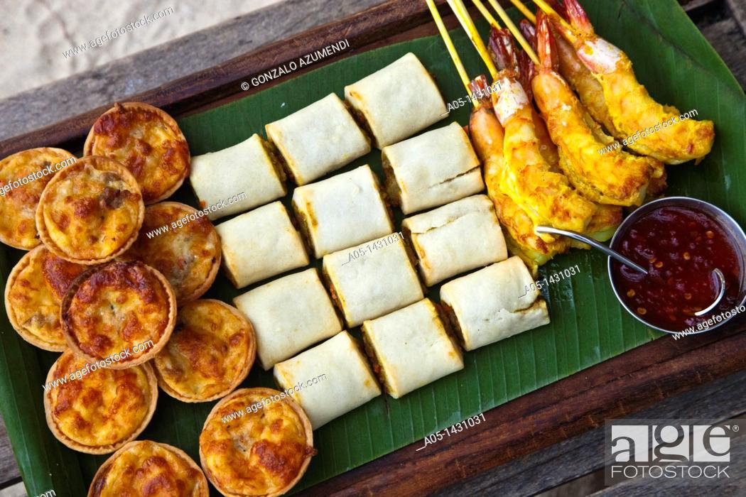 Stock Photo: Thai finger food, Hotel Rayavadee, Hat Phra Nang, Krabi, Thailand.