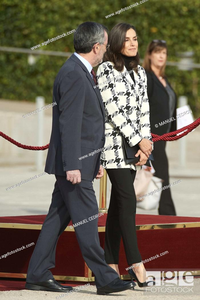 Stock Photo: Queen Letizia of Spain depart from Adolfo Suarez Madrid-Barajas Airport to Cuba for Two Days State Visit on November 11, 2019 in Madrid, Spain.