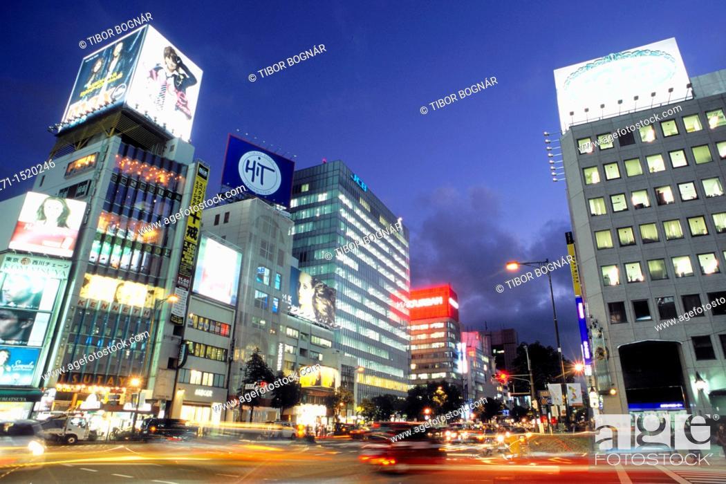 Stock Photo: Omotesando Boulevard at night, Tokyo, Japan.