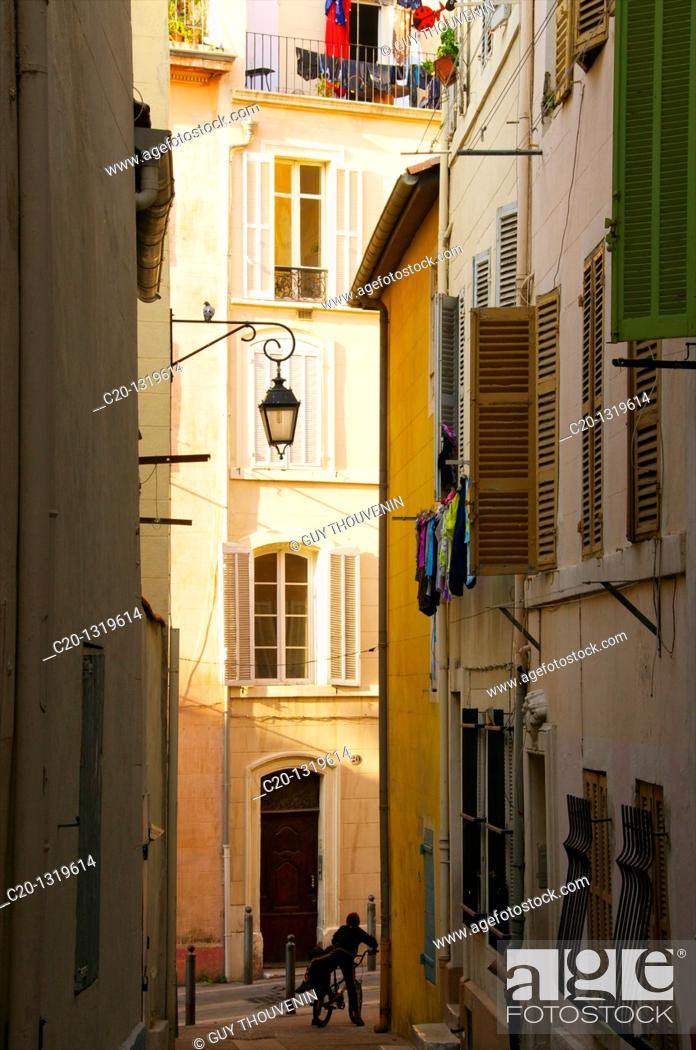Stock Photo: Typical street of the Panier quarter, the oldest spot in town. Marseille, Bouches du Rhone, 13, France.