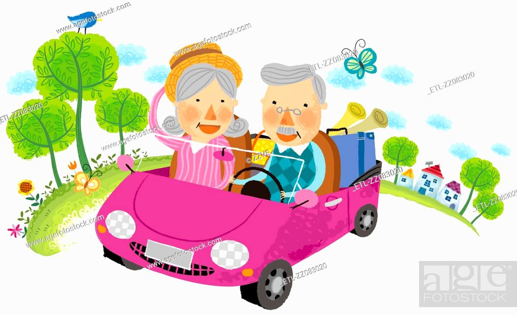 Stock Photo: Elderly couple travelling on car.