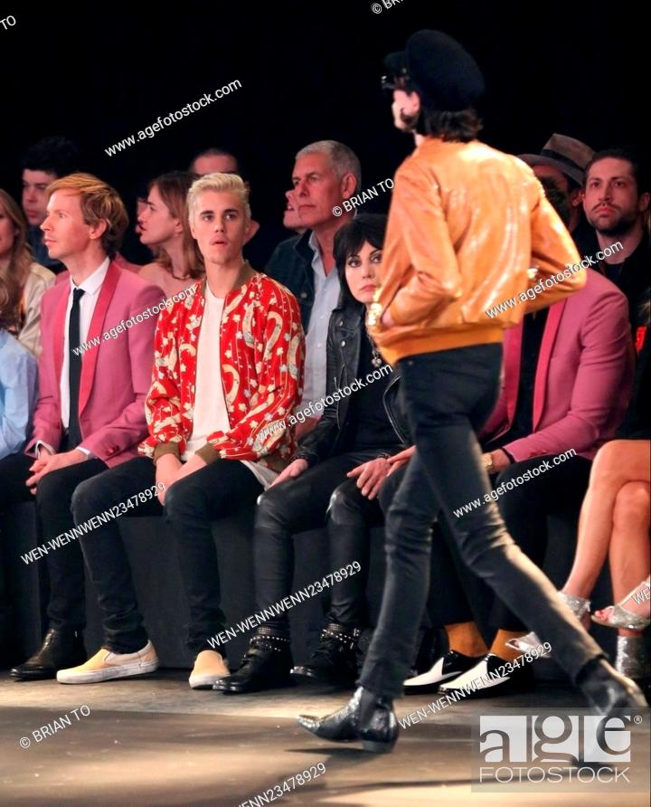66a040c2 Stock Photo - Saint Laurent at Hollywood Palladium - Fashion Show Featuring:  Beck Hansen, Beck, Justin Bieber, Joan Jett Where: Los Angeles, California,  ...