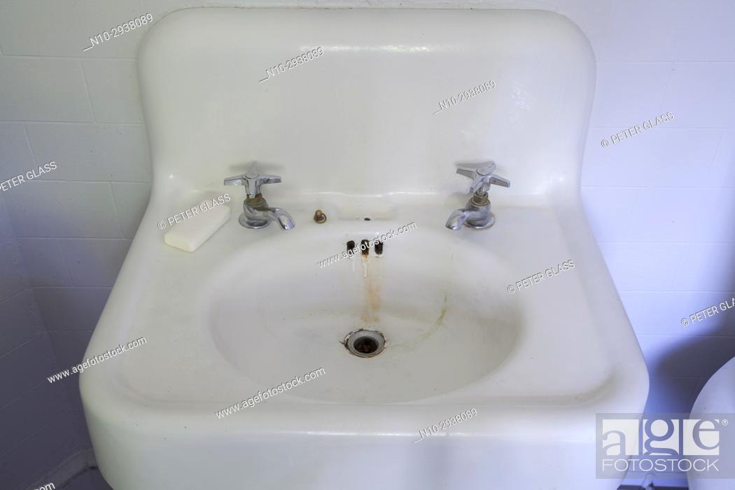Stock Photo: Old bathroom sink.