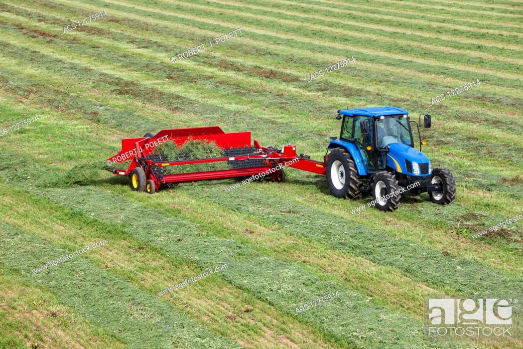 Stock Photo: New Holland t5040 with H5430 windrow merger; New Holland, Pennsylvania, United States of America.