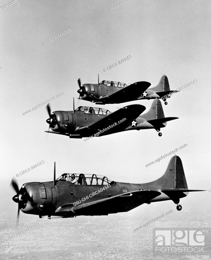 Stock Photo: U.S. Army Douglas A-20 (Havoc) Light Dive Bombers, In-Flight, Office of War Information, 1942.