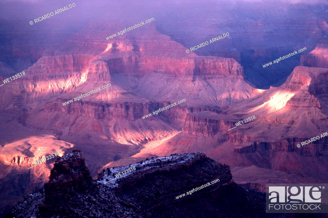 Stock Photo: A Misty Winter View of the Grand Canyon.