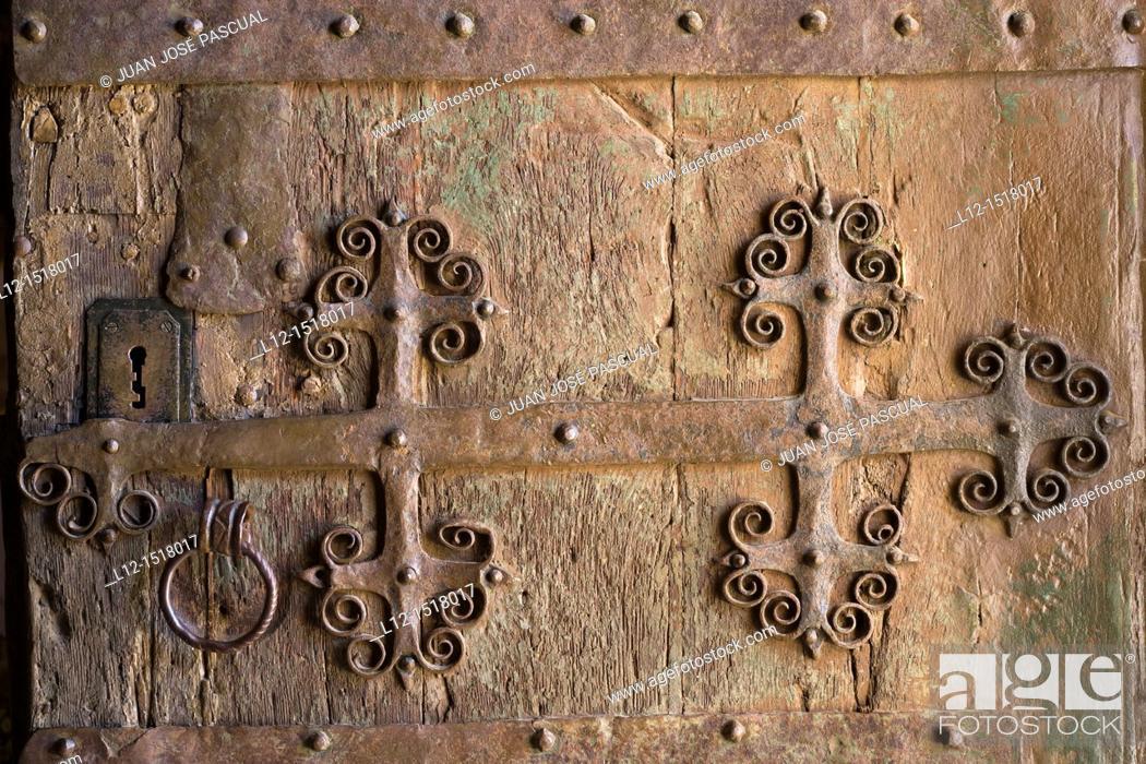 Stock Photo: Church, main door detail, Ahedo de Butrón, Burgos province, Castilla-León, castille-Leon, Spain.