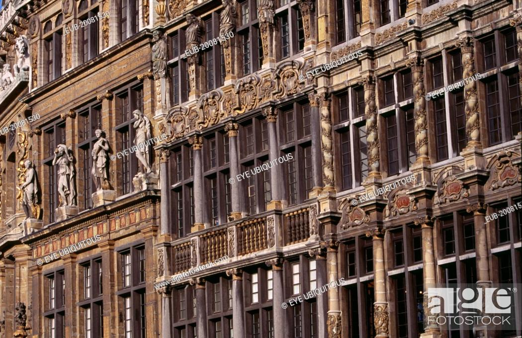 Stock Photo: Grand Place. Detail of decorated facades of guild houses in the market square.UNESCO World Heritage Site.