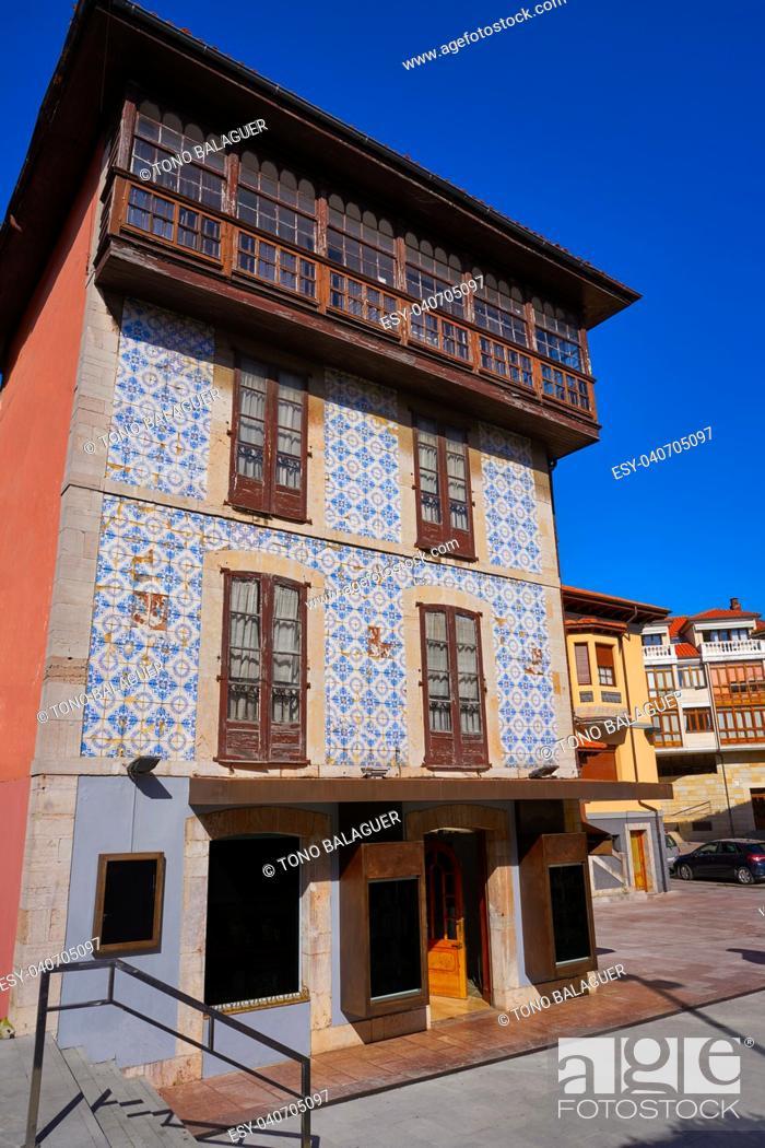 Stock Photo: Llanes village facades in Asturias of Spain.