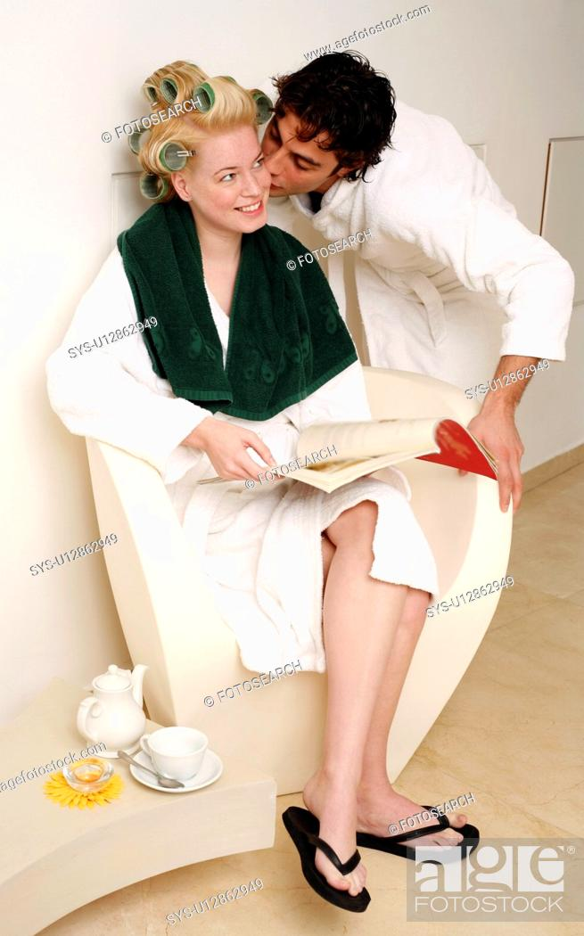 Stock Photo: Young couple waiting in a beauty salon.