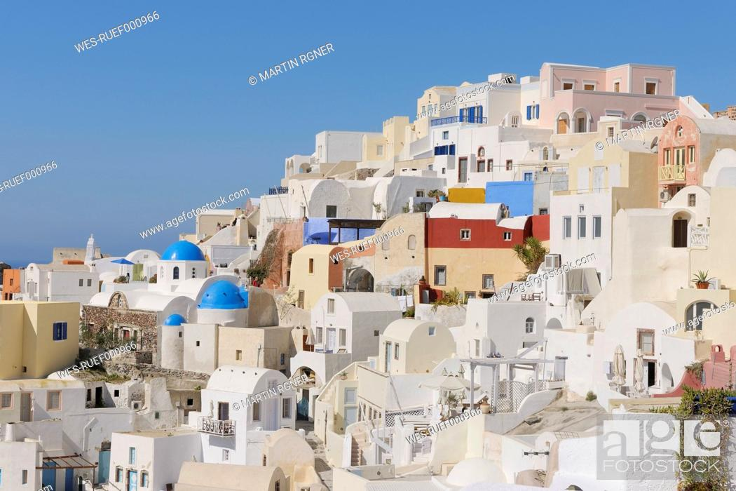 Stock Photo: Greece, View of Oia village at Santorini.