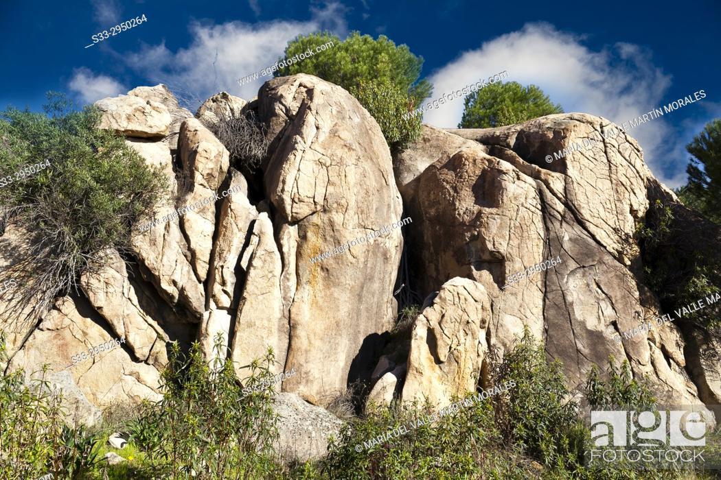 Stock Photo: Granite in Alcornocoso hill. Madrid. Spain.