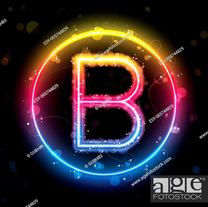 Stock Vector: Alphabet Rainbow Lights in Circle Button.