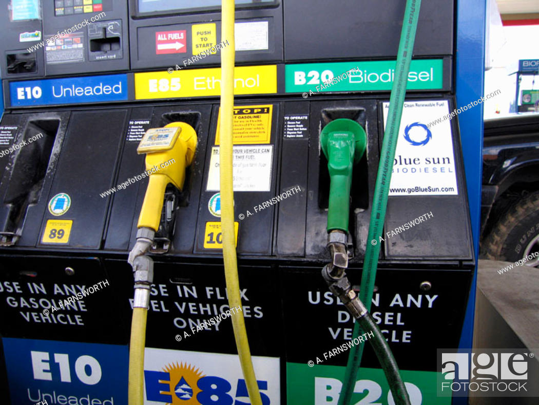 Stock Photo: Alternative fuels available at a gas station in New Mexico. Ethanol and Biodiesel. Santa Fe. New Mexico. USA.