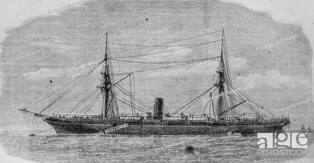 Photo de stock: the steamship the rhone lost during the last hurricane which devastated the island of saint thomas, the illustrious universe, editor michel levy 1868.