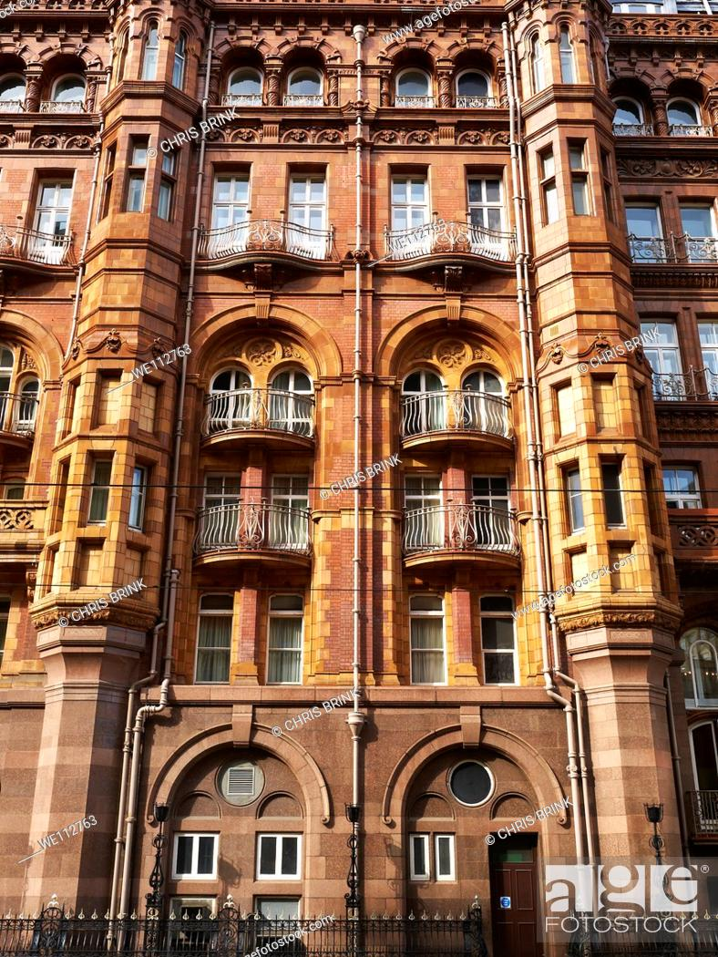 Stock Photo: Architectural detail of The Midland Hotel with balconies in Manchester, England, UK.