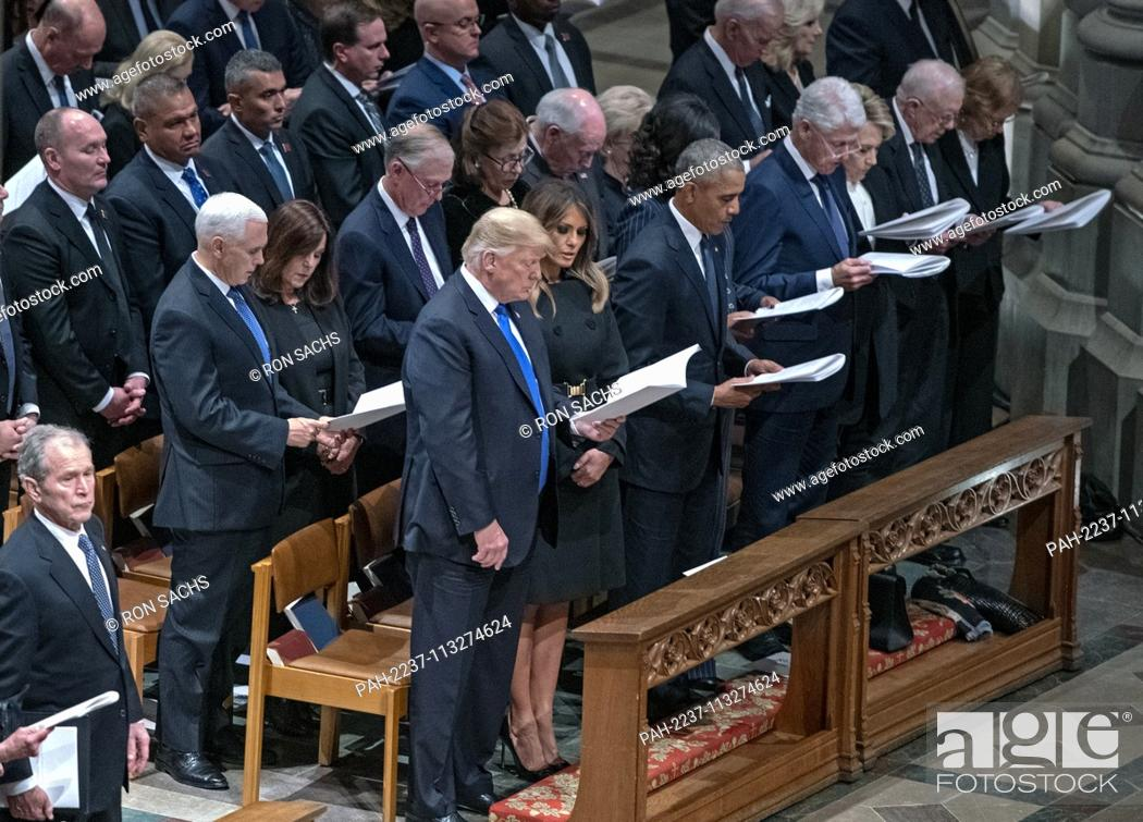 Stock Photo: Current and former United States Presidents in attendance at the National funeral service in honor of the late former US President George H.W.