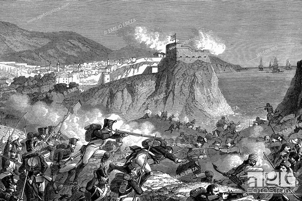 Stock Photo: Combat of the Molitor division near Ragusa (Dubrovnik) 1808. Napoleonic wars. Antique illustration. 1890.