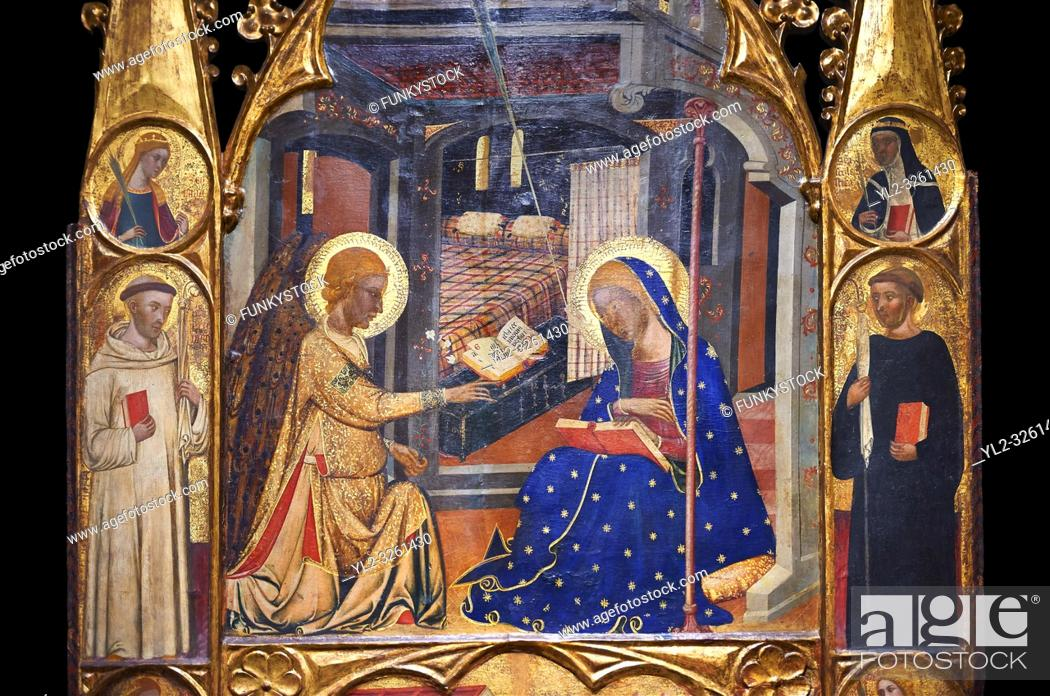 Stock Photo: Gothic painted Panel Altarpiece of the Annunciation by the Circle of Ferrer and Arnau Bassa. Tempera and gold leaf on wood. Circa 1347-1360. 282.