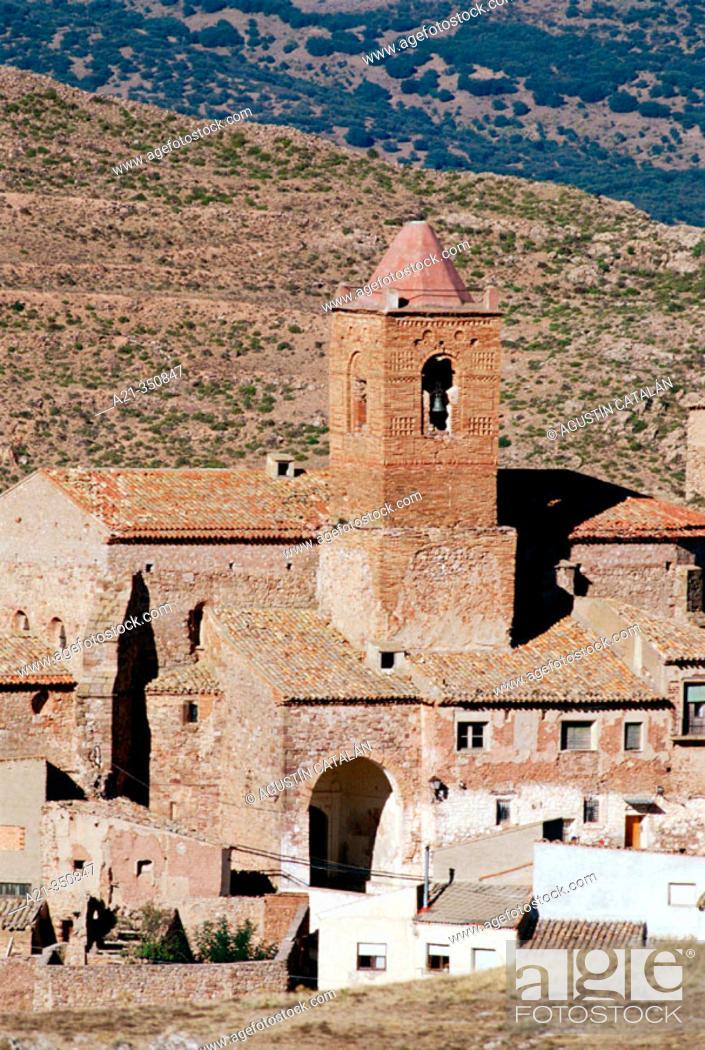 Stock Photo: Village. Soria-Zaragoza provinces border, Spain.