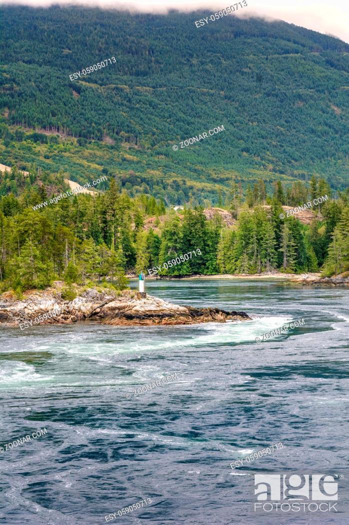 Stock Photo: Turbulent, fast and dangerous tidal rapids at high tide, North Point, Skookumchuck Narrows, British Columbia, Canada.