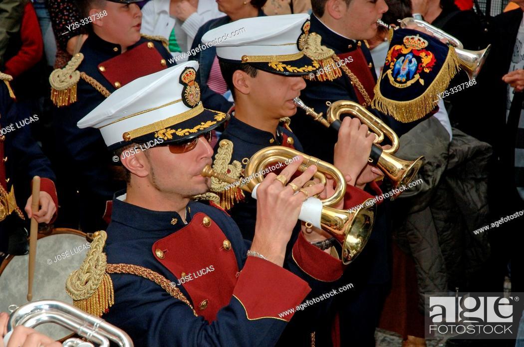 Stock Photo: Holy Week. Brotherhood of La Palma. Music band (cornets and drums). Cadiz. Region of Andalusia. Spain. Europe.