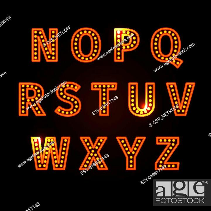 Stock Vector: retro glowing font.