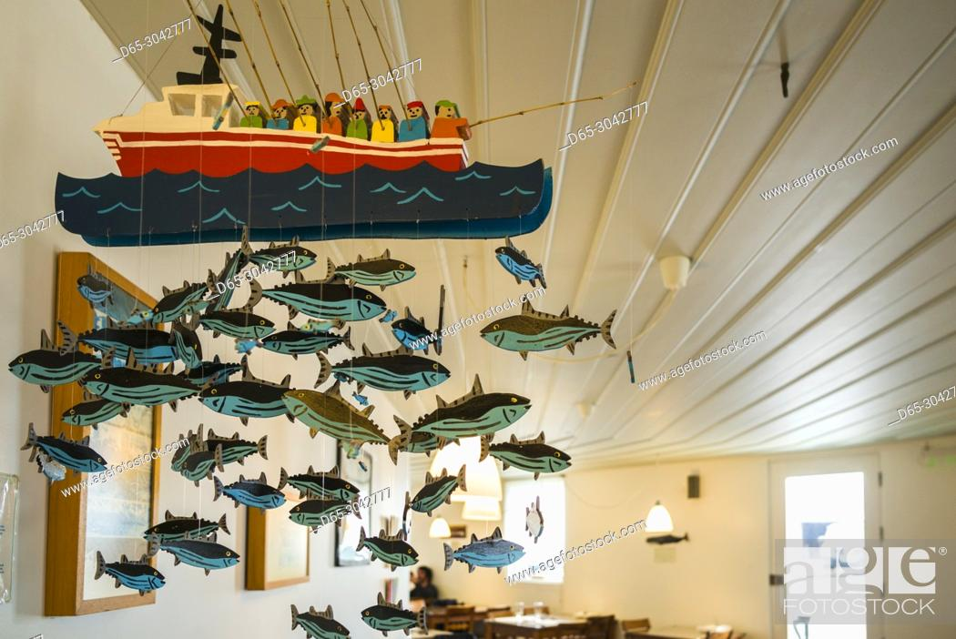Stock Photo: Portugal, Azores, Pico Island, Lajes do Pico, fish mobile in town cafe.