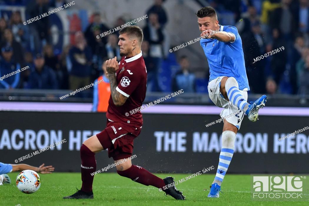 Stock Photo: Lazio football player Sergej Milinkovic Savic during the match Lazio-Torino in the Olimpic stadium. Rome (Italy), October 30th, 2019.