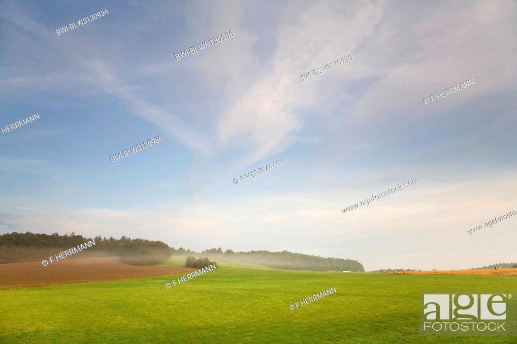 Stock Photo: cultural landscape in morning light, Germany, Saxony, Vogtlaendische Schweiz.