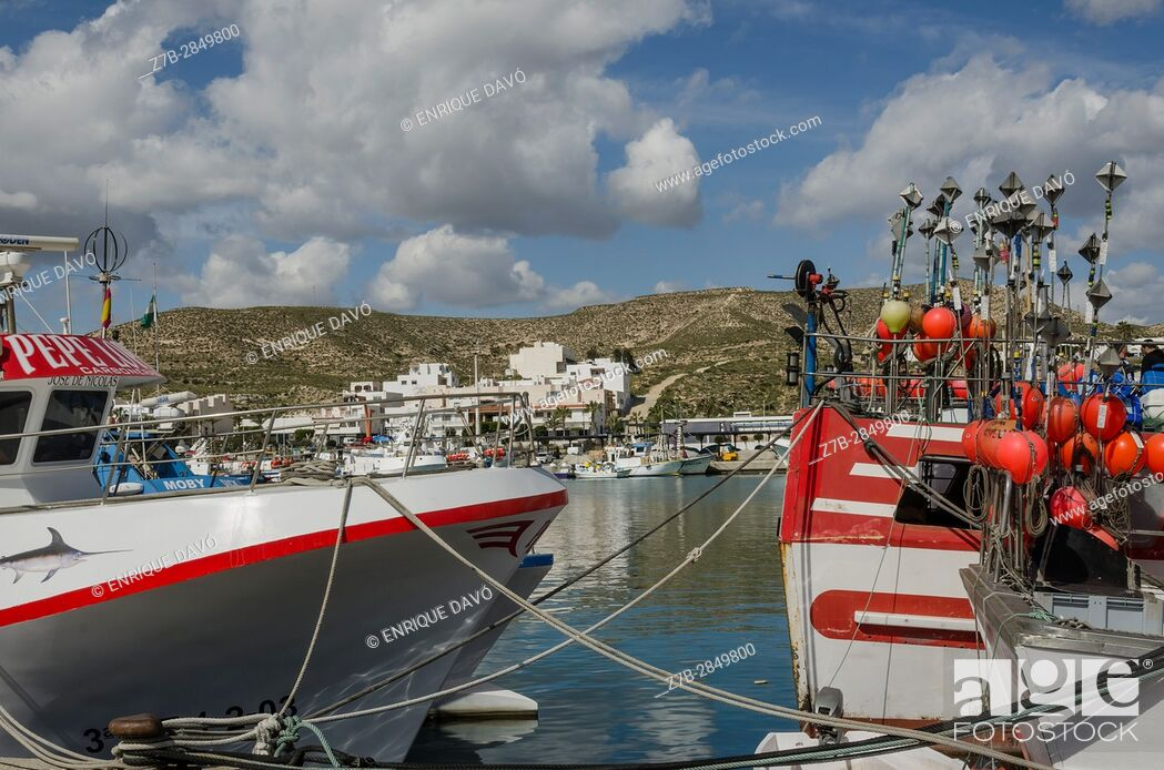 Stock Photo: A fishing boats view in the Carboneras port, Almería province, Spain.