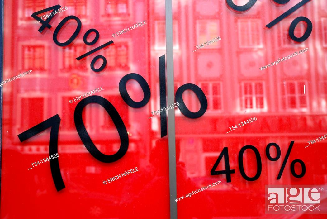 Stock Photo: Percent discount on goods in Munich.