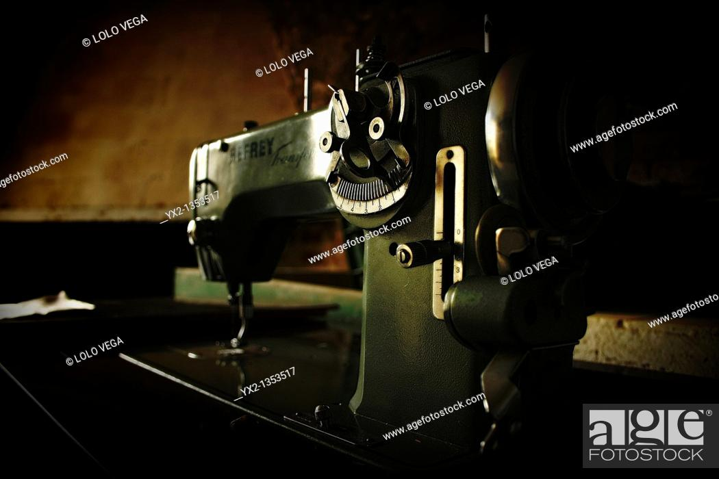 Stock Photo: Old sewing machine.